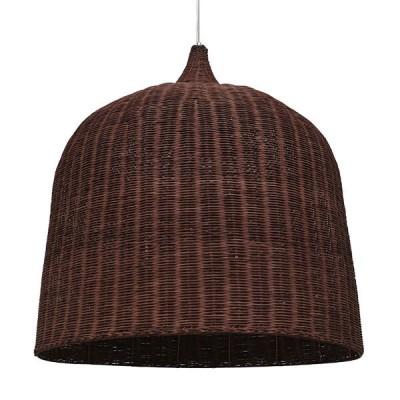 Κρεμαστό φωτιστικό καφέ σκούρο ξύλινο ψάθινο rattan Φ90cm