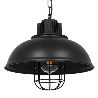 Vintage industrial κρεμαστό φωτιστικό μονόφωτο μαύρο μεταλλικό πλέγμα Φ33cm