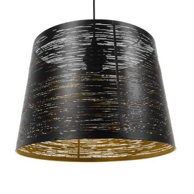 Μοντέρνο Industrial Κρεμαστό Φωτιστικό Μονόφωτο Μεταλλικό Μαύρο Χρυσό Καμπάνα Ø35cm