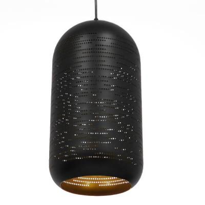 Μοντέρνο κρεμαστό φωτιστικό μονόφωτο μαύρο με χρυσό μεταλλικό καμπάνα Φ20cm