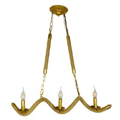 Vintage Κρεμαστό Φωτιστικό Τρίφωτο Χρυσό Μεταλλικό με Μπεζ Σχοινί 75x80cm