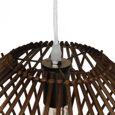 Κρεμαστό φωτιστικό από καφέ σκούρο ψαθί-rattan Φ50cm