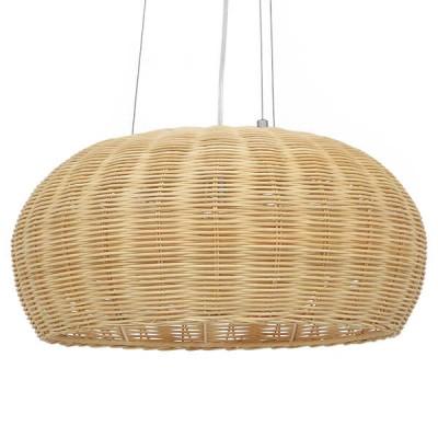 Κρεμαστό φωτιστικό μονόφωτο καφέ ξύλινο bamboo Φ45cm