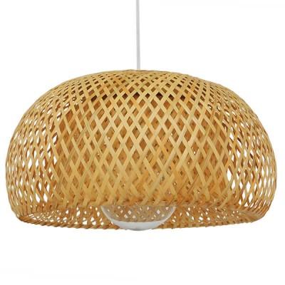 Κρεμαστό φωτιστικό μονόφωτο καφέ ξύλινο bamboo Φ38cm