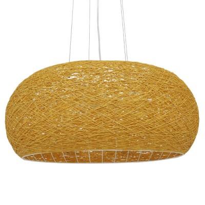 Κρεμαστό φωτιστικό Φ60cm καφέ ξύλινο bamboo