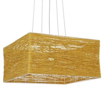 Κρεμαστό φωτιστικό καφέ bamboo 40x40cm