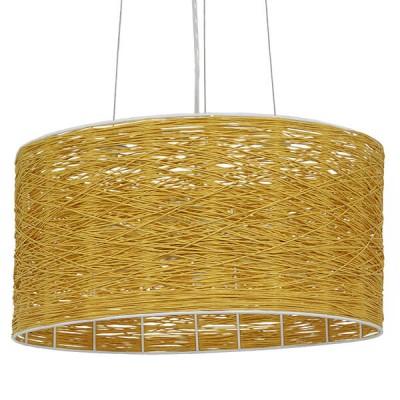 Κρεμαστό Φωτιστικό Μονόφωτο Καφέ Ξύλινο Bamboo Ø40