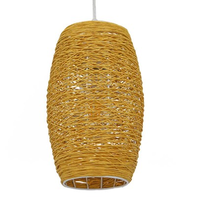 Κυλινδρικό κρεμαστό φωτιστικό καφέ bamboo Φ15