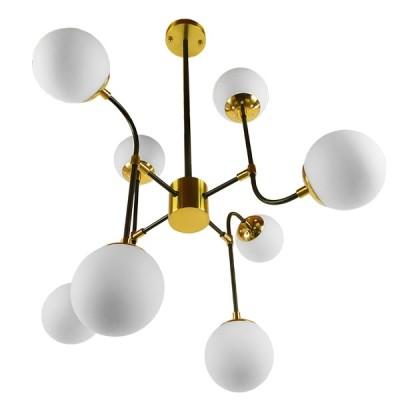 Vintage Industrial Φωτιστικό Οροφής Πολύφωτο Μαύρο Χρυσό Μεταλλικό Πολυέλαιος με Γυάλινες Μπάλες Λευκό Ματ