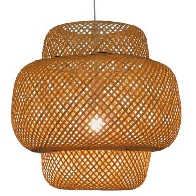 Κρεμαστό φωτιστικό καφέ ανοιχτό bamboo Φ56cm