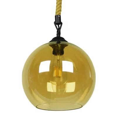 Μοντέρνο κρεμαστό φωτιστικό γυάλινο με 1m μπεζ σχοινί Φ25cm