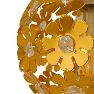 Τρίφωτη ροζέτα Ø30cm με κρεμαστά φωτιστικά χρυσαφί με σχέδιο λουλουδιών