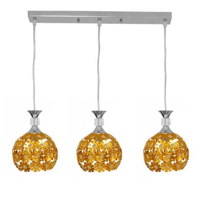 Μοντέρνο Κρεμαστό Φωτιστικό Τρίφωτο 50cm Χρυσαφί με Κρύσταλλα