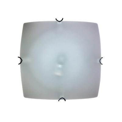 Τετράγωνη πλαφονιέρα οροφής σατινέ λευκή γυάλινη