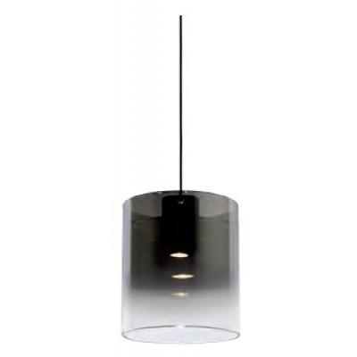 Κρεμαστό γυάλινο φωτιστικό Ø20cm με διαφανο-φιμέ κυλλινδρικό αμπαζούρ