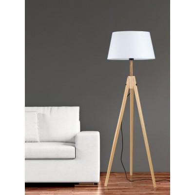 Ξύλινο φωτιστικό δαπέδου με λευκό αμπαζούρ