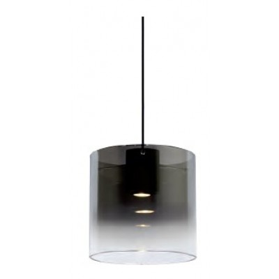 Κρεμαστό γυάλινο φωτιστικό Ø25cm με διαφανο-φιμέ κυλλινδρικό αμπαζούρ