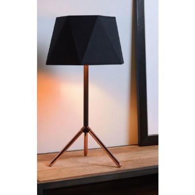 Επιτραπέζιο μεταλλικό φωτιστικό 57cm με μαύρο πολυγωνικό αμπαζούρ Ø32cm