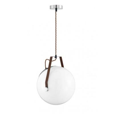 Λευκή κρεμαστή μπάλα με δερμάτινη ζώνη στην ανάρτηση