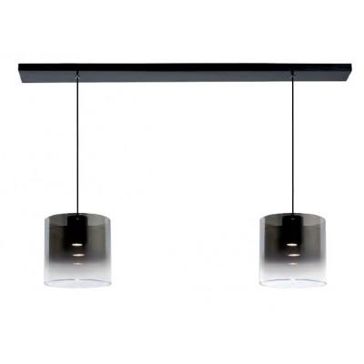 Γυάλινο δίφωτο φωτιστικό οροφής 100cm με διάφανα-φιμέ κυλλινδρικά αμπαζούρ