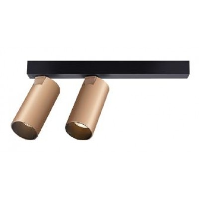 Δίφωτο σποτ LED χρυσοχάλκινο σε μαύρη ράγα 254cm