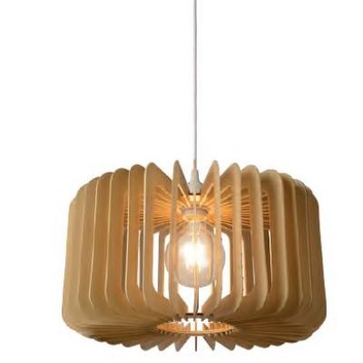 Κυλινδρικό κρεμαστό φωτιστικό Ø39cm με ξύλινη φτερωτή
