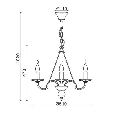 Λευκόχρυσος μοντέρνος πολυέλαιος με τρία φώτα ACA