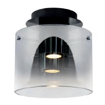 Γυάλινο φωτιστικό οροφής Ø20cm με κυλλινδρικό φιμέ αμπαζούρ