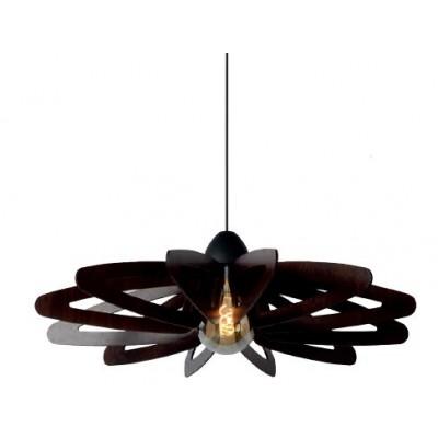 Κρεμαστό ξύλινο φωτστικό Ø76cm λουλούδι σε χρώμα σκούρου ξύλου