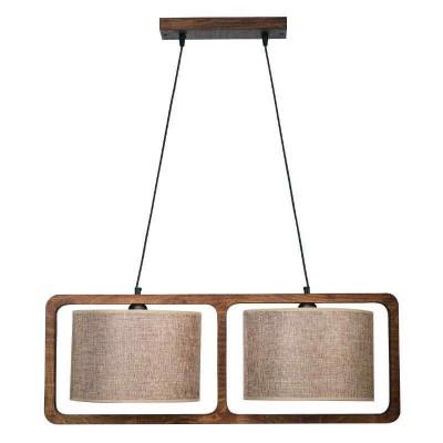 Δίφωτο κρεμαστό φωτιστικό σε ξύλινο πλαίσιο 82x30cm