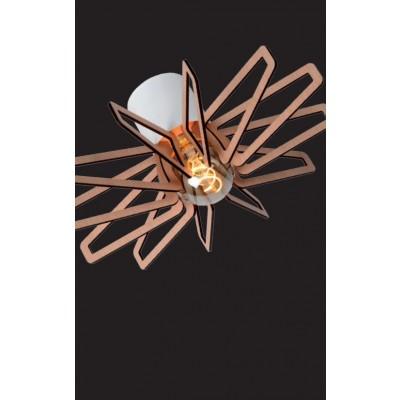 Ξύλινο φωτστικό οροφής Ø45cm με φτερωτή σε χρώμα σκούρου ξύλου