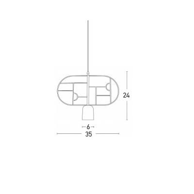 Μοντέρνο μονόφωτο με οβάλ πλαίσιο Ø35cm