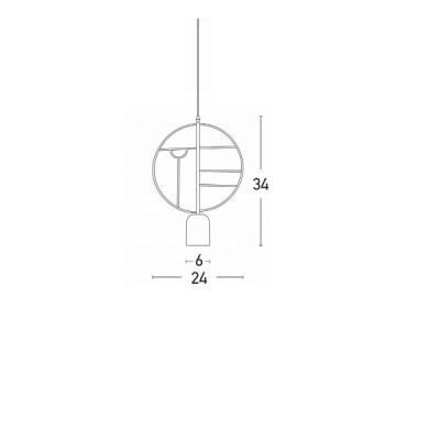 Μοντέρνο μονόφωτο με στρογγυλό πλαίσιο Φ24cm