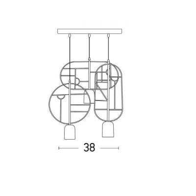 Μοντέρνα κρεμαστή ροζέτα Ø38cm τρίφωτη