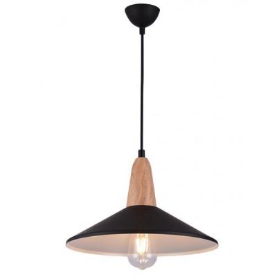 Kαμπάνα Ø33cm μαύρη με ξύλινη λεπτομέρεια