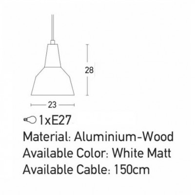 Kαμπάνα Φ23cm λευκή με ξύλινη λεπτομέρεια