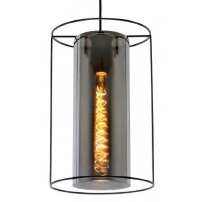 Κρεμαστό φωτιστικό Ø25cm με μεταλλικο σκελετό και γυάλινο φιμέ κύλινδρο