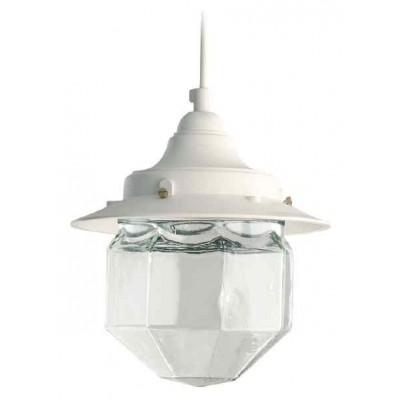 Στεγανό κρεμαστό φωτιστικό φανάρι Φ19cm με πολυγωνικό γυαλί