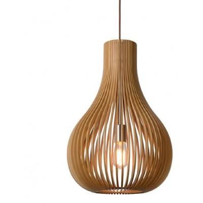 Κρεμαστό ξύλινο φωτιστικό Ø38cm με πλέγμα σε σχήμα πουγκί