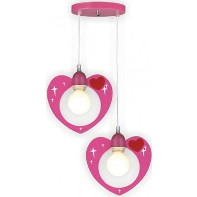 Παιδικό φωτιστικό κρεμαστό ροζ καρδούλες Ø35cm
