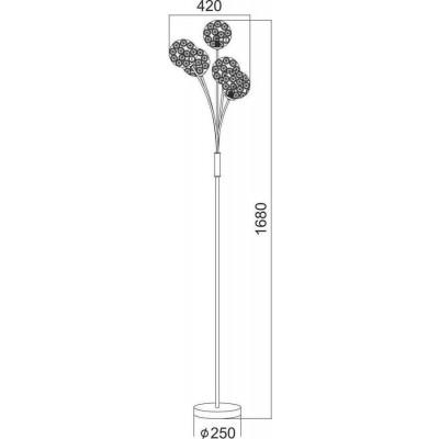 Πεντάφωτο φωτιστικό δαπέδου 168cm με γλόμπους διακοσμημένους με κρύσταλλα