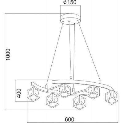 Πολύφωτο κρεμαστό φωτιστικό Ø60cm  με γύαλινα κυβάκια