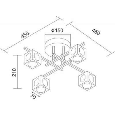 Τετράφωτο φωτιστικό οροφής 45x45cm με γύαλινα κυβάκια