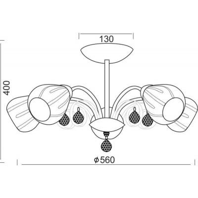 Πεντάφωτο φωτιστικό οροφής Ø56cm με ανάγλυφες κεφαλές