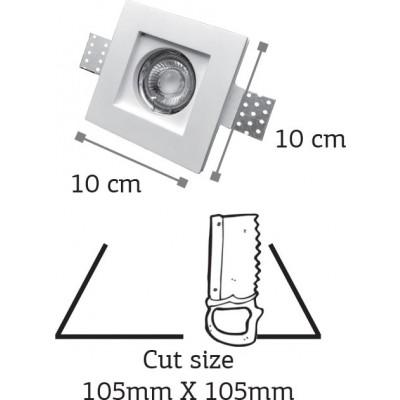 Χωνευτό σποτ τετράγωνο 10x10cm γύψινο λευκό ρηχό