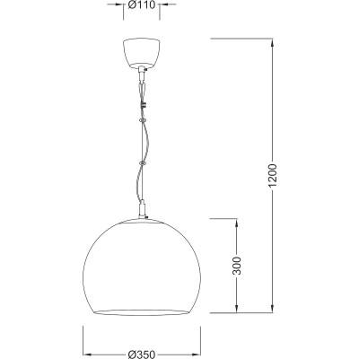 Γυάλινο κρεμαστό φωτιστικό Ø35cm με ντεκόρ ανάρτηση