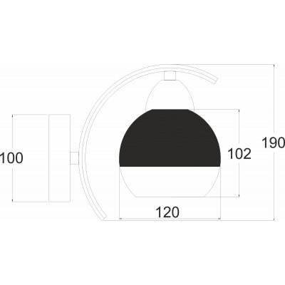 Φωτιστικό τοίχου Ø12cm με γυαλιστερή ημιδιάφανη κεφαλή