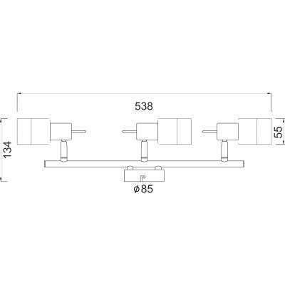 Τρίφωτο σποτ οροφής 54cm από μέταλλο και γυαλί