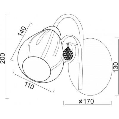 Απλίκα με ανάγλυφη κεφαλή Ø11cm γυάλινη αμμοβολισμένη