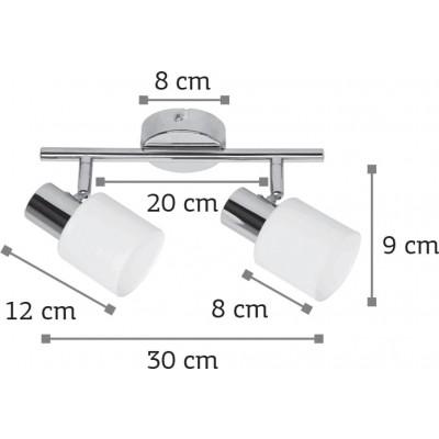 Κλασσικό σποτ 30cm με γυάλινες κεφαλές δίφωτο Ε14